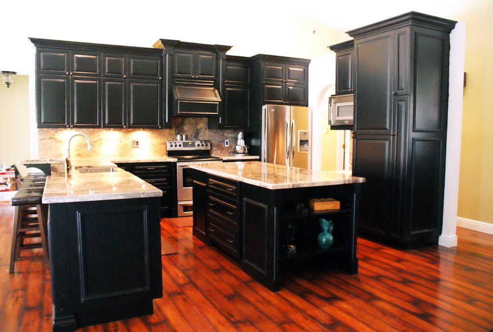 Distressed Black Cabinets Kitchen