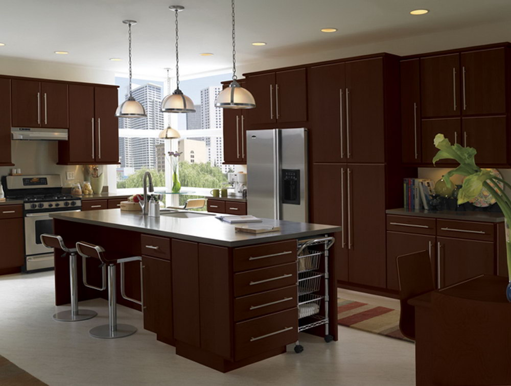 Espresso Flat Panel Kitchen Cabinets
