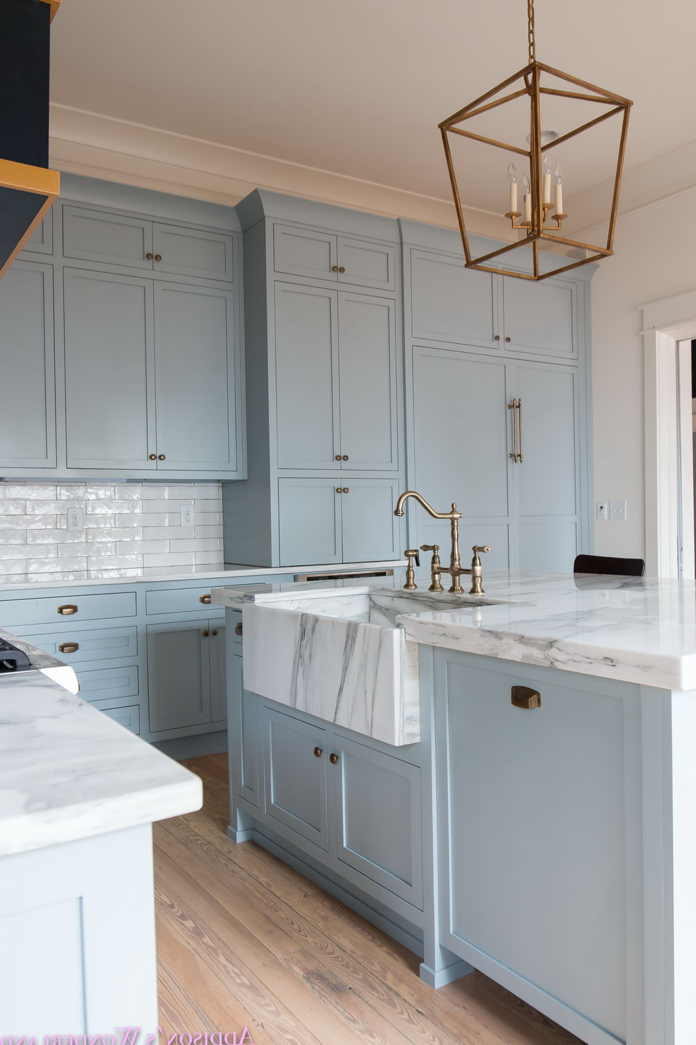 Gray Antiqued Kitchen Cabinets