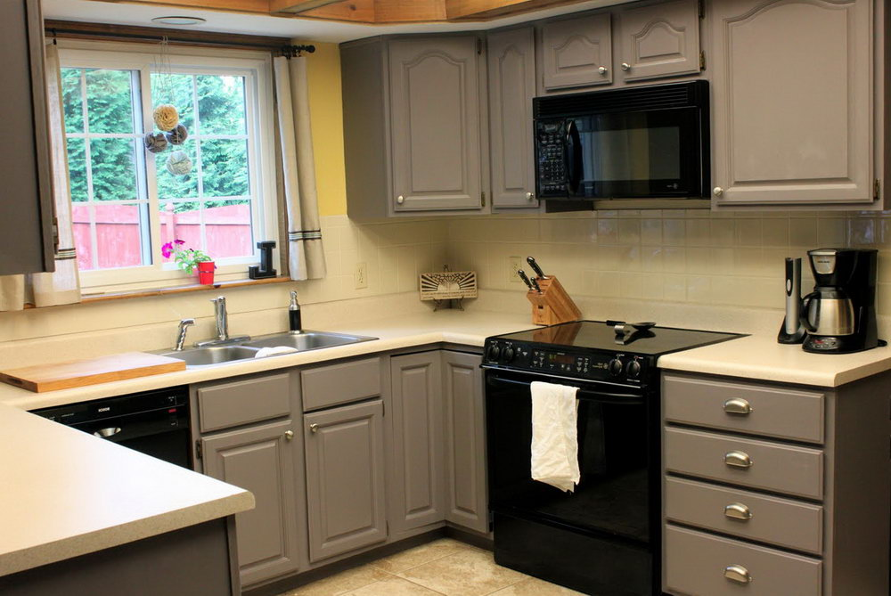 Gray Painted Kitchen Cabinets Before And After