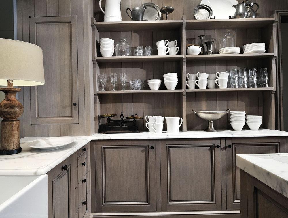 Gray Whitewash Kitchen Cabinets