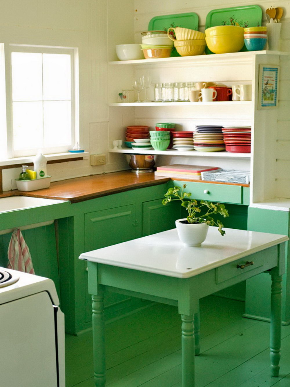 Green Antiqued Kitchen Cabinets