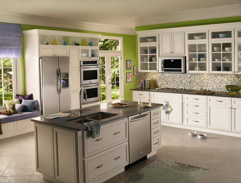 Green Grey Cabinets Kitchen