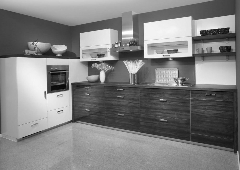 Grey Kitchen Walls Dark Cabinets