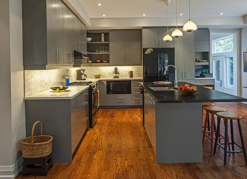 Grey Kitchen With Black Cabinets