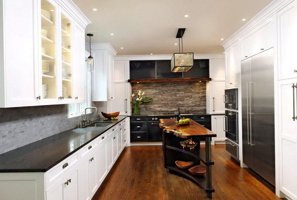 Industrial Kitchen White Cabinets