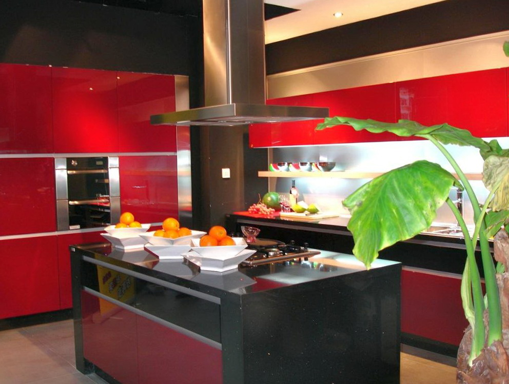 Kitchen Cabinet Red And Black