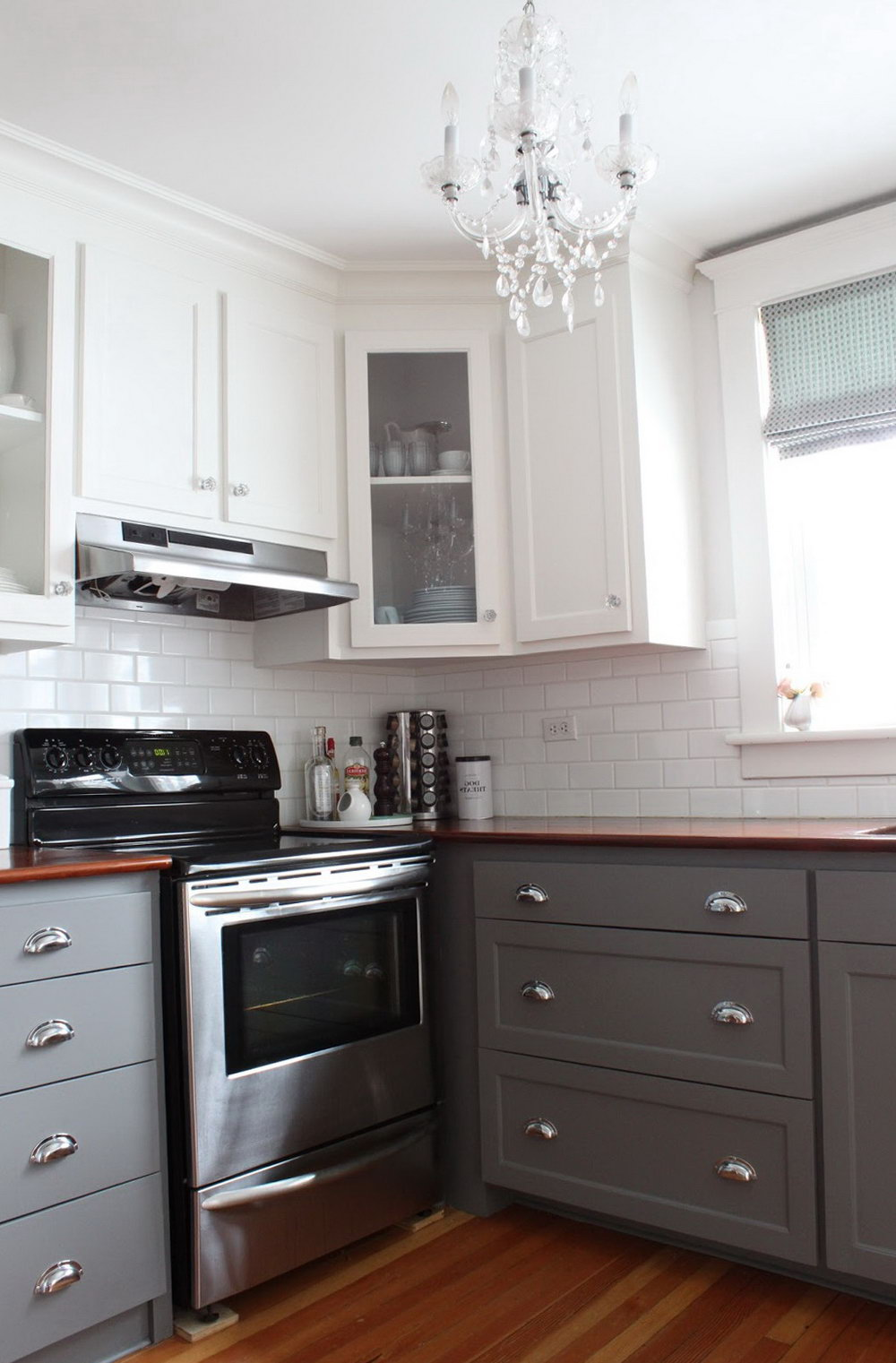 Kitchen Cabinets White Top Grey Bottom