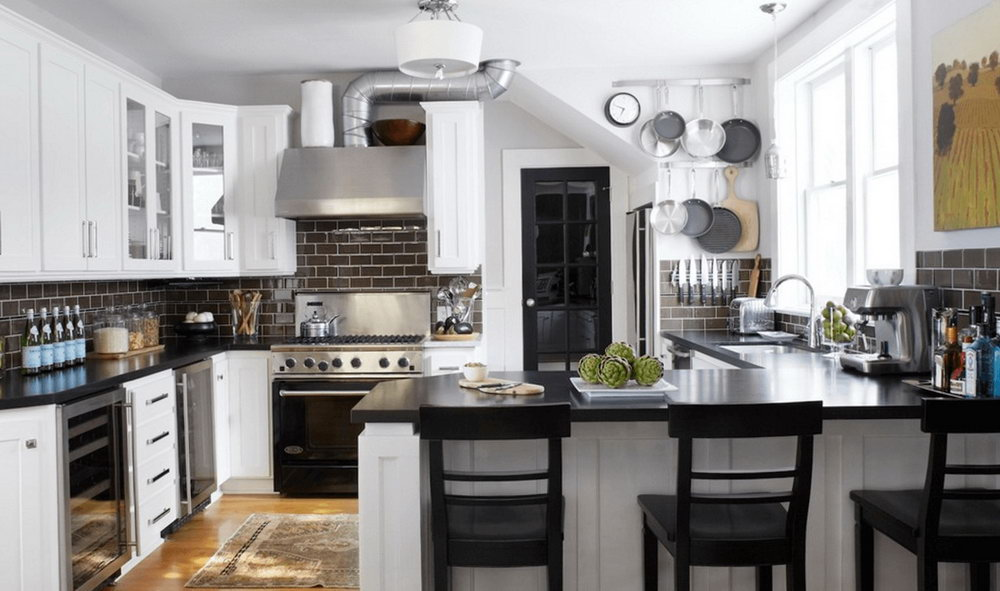 Kitchen Design Black And White Cabinets