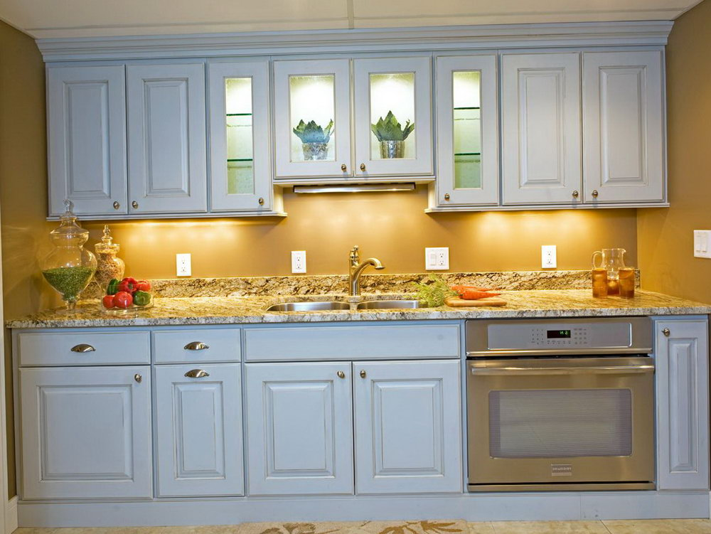 Kitchen Sink With Cabinets Above