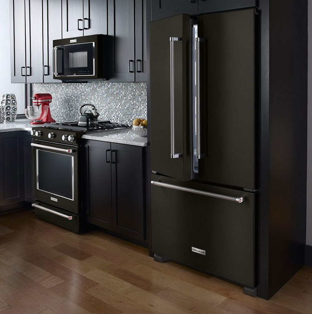 Kitchen With Dark Cabinets And Black Appliances