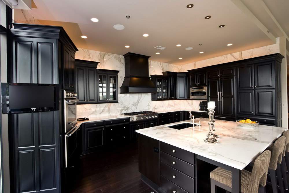 Kitchen With Dark Cabinets And Dark Floors