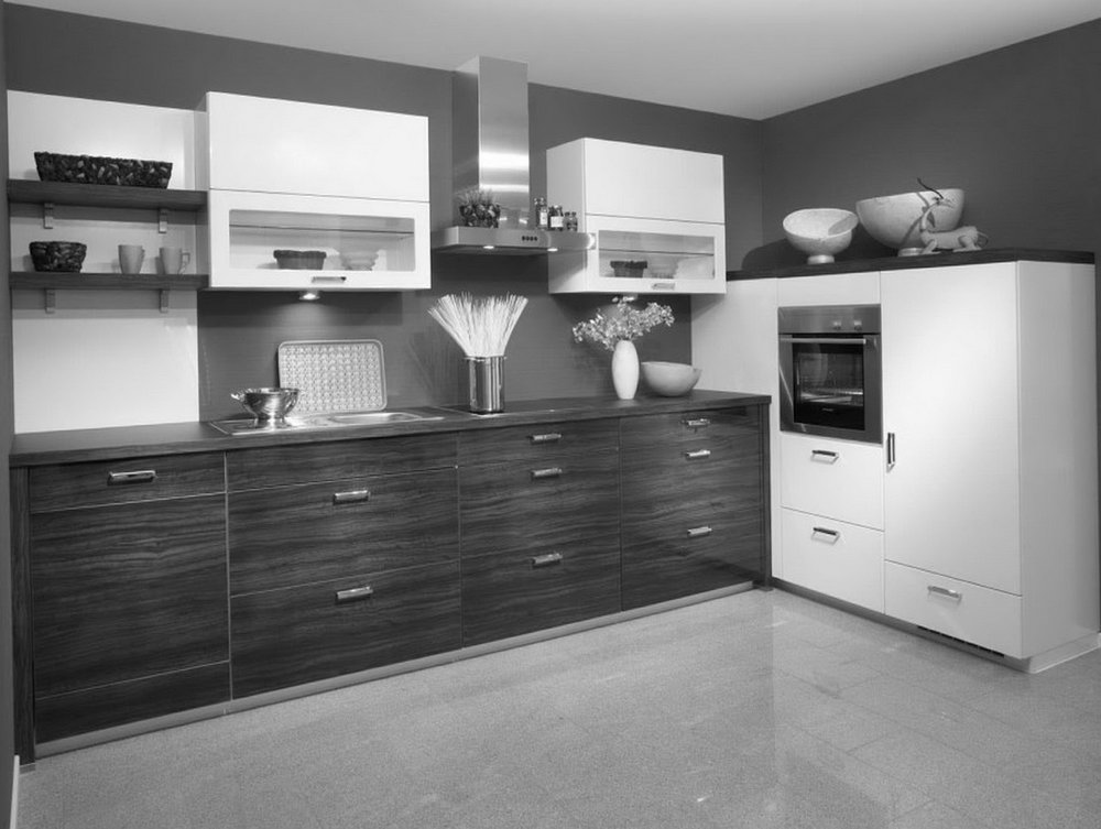 Kitchen With Dark Cabinets And Gray Walls