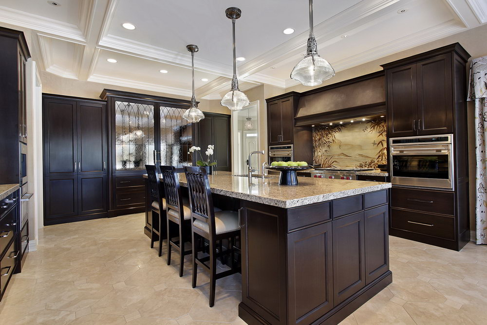 Kitchen With Dark Cabinets And Light Floors