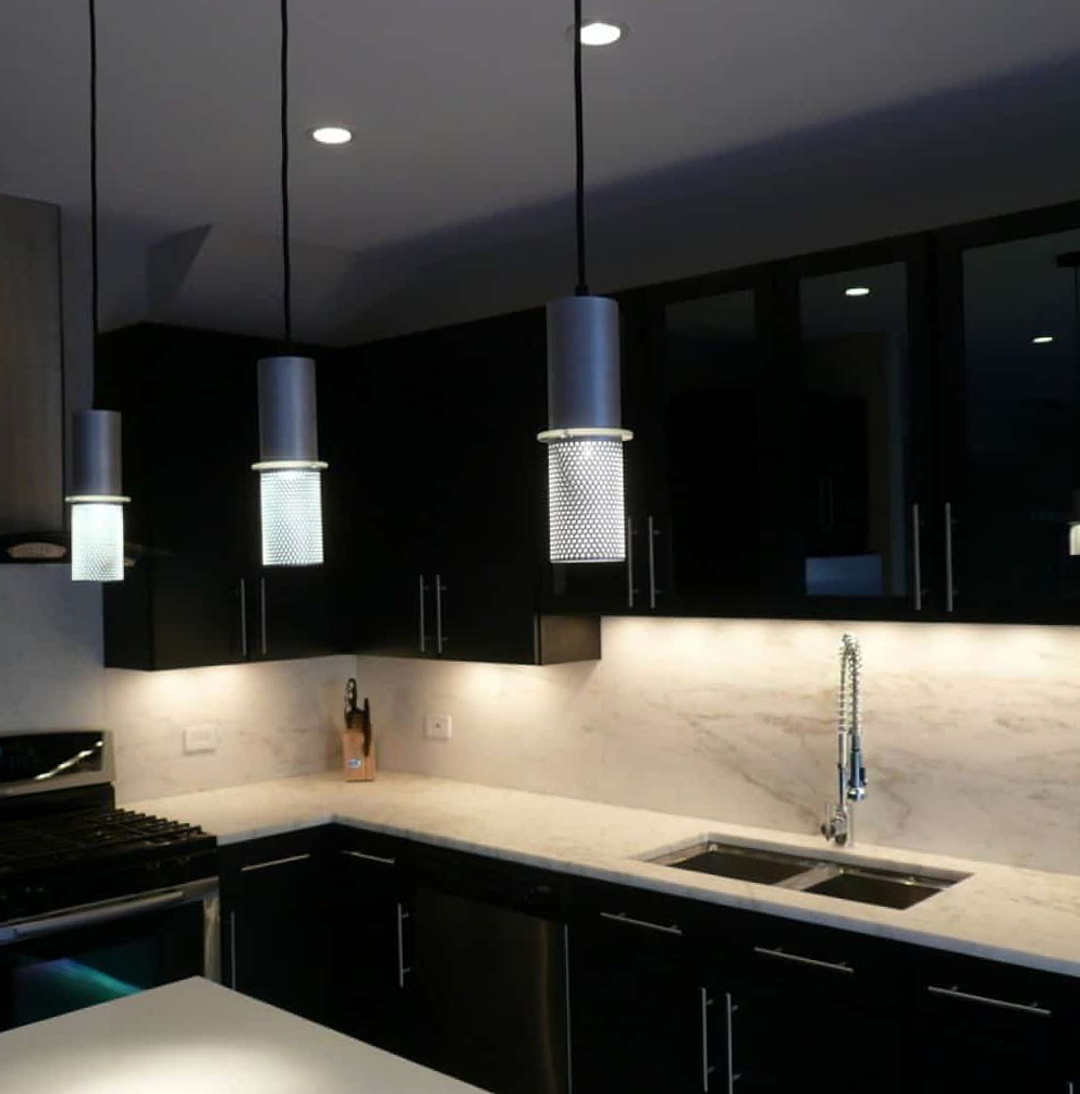 Kitchens With Black Cabinets And White Countertops