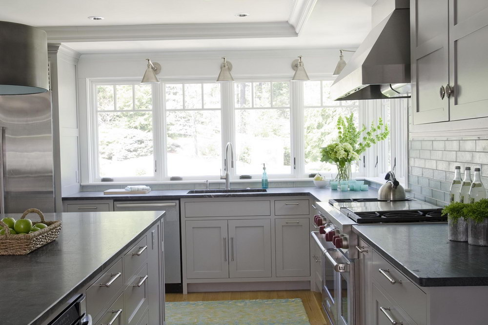 Light Grey Kitchen Cabinets With Dark Countertops