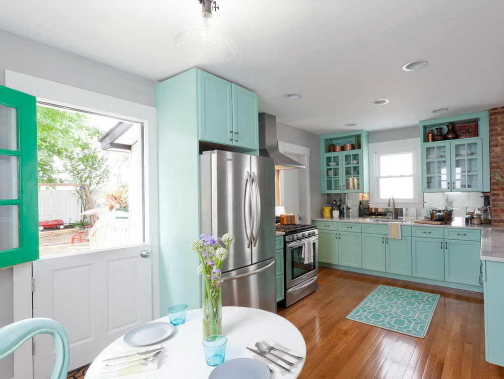 Light Teal Kitchen Cabinets