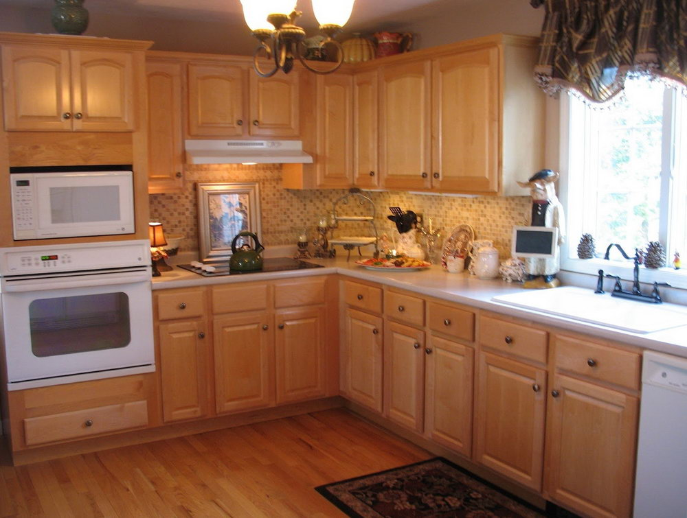 Light Wood Kitchen Cabinets White Appliances