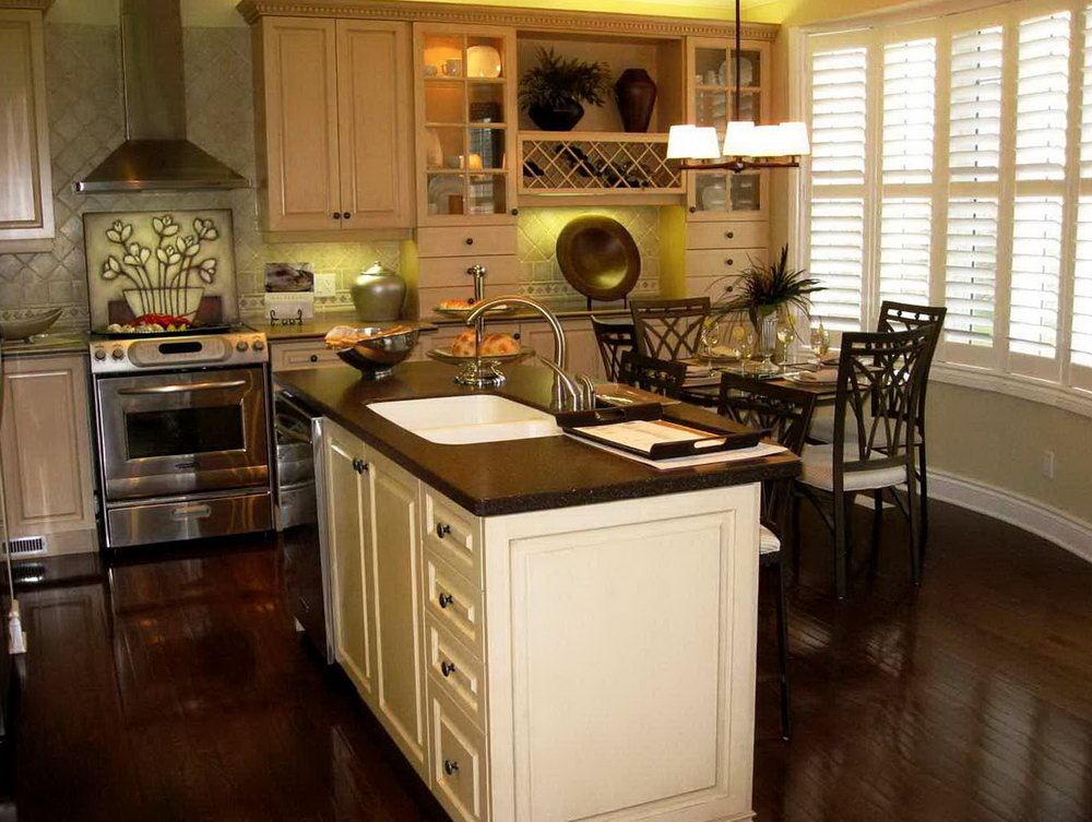 Light Wood Kitchen Cabinets With Dark Wood Floors