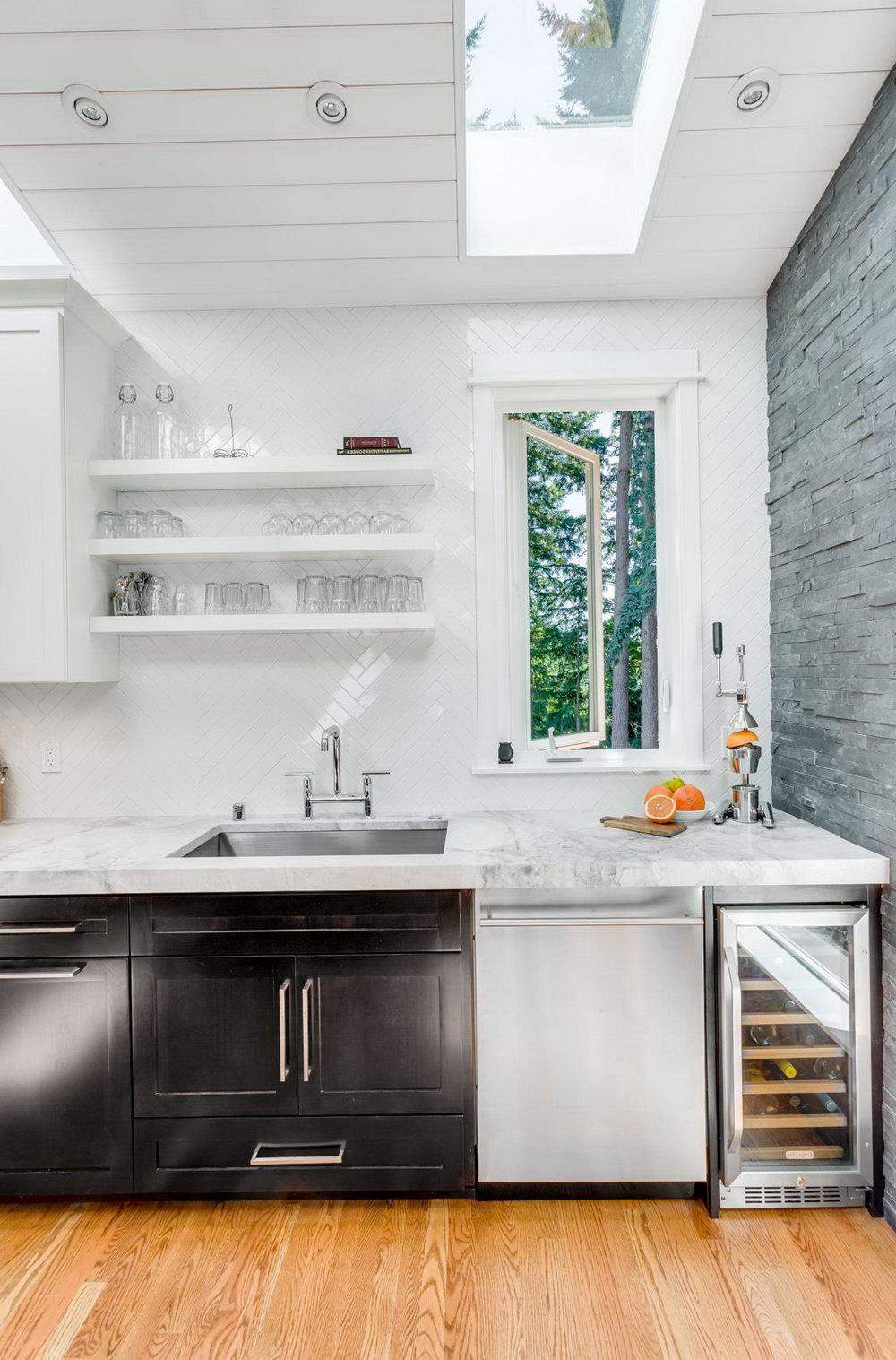 Mid Century Modern White Kitchen Cabinets