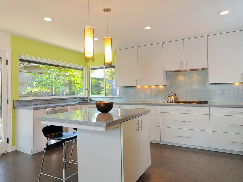 Modern White Kitchen Cabinets With Grey Countertops