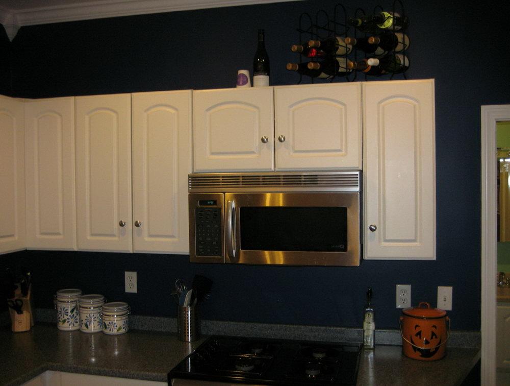 Navy Blue Kitchen White Cabinets