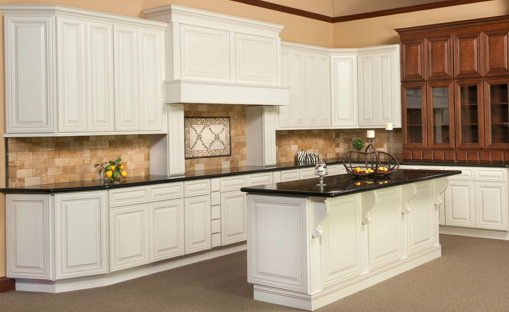 Off White Glazed Kitchen Cabinets