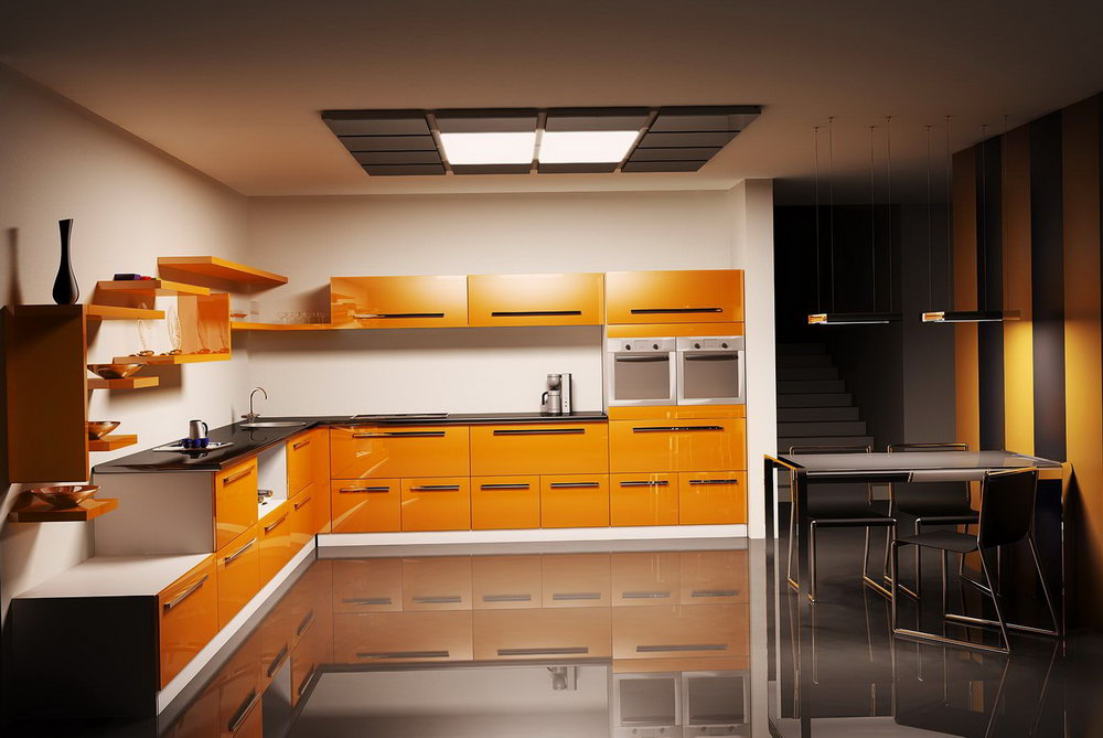 Orange Color Kitchen Cabinets