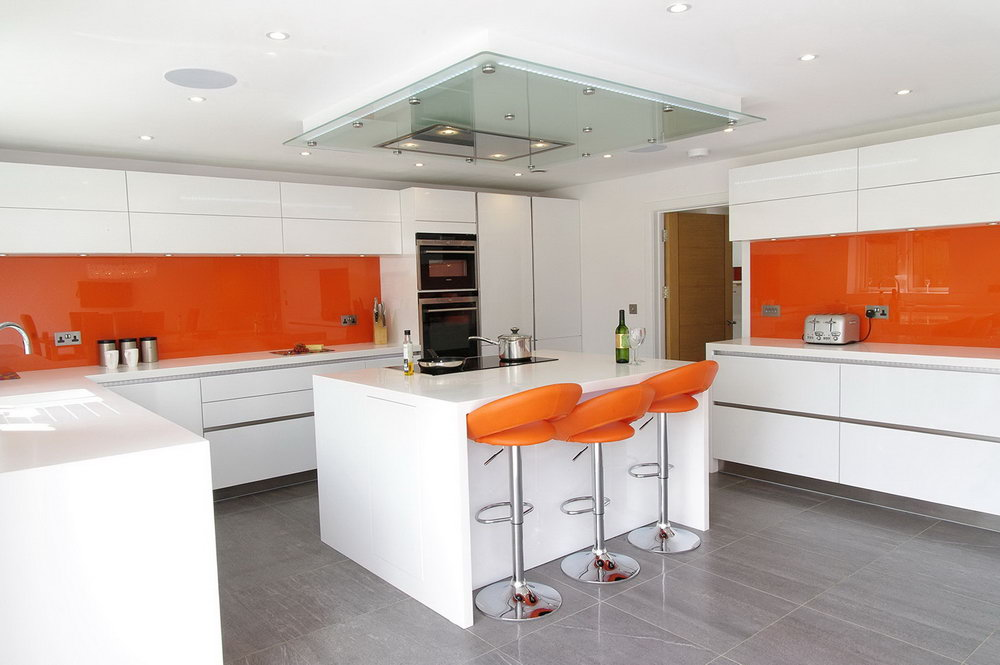 Orange Kitchen White Cabinets