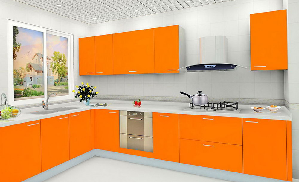 Orange Painted Kitchen Cabinets