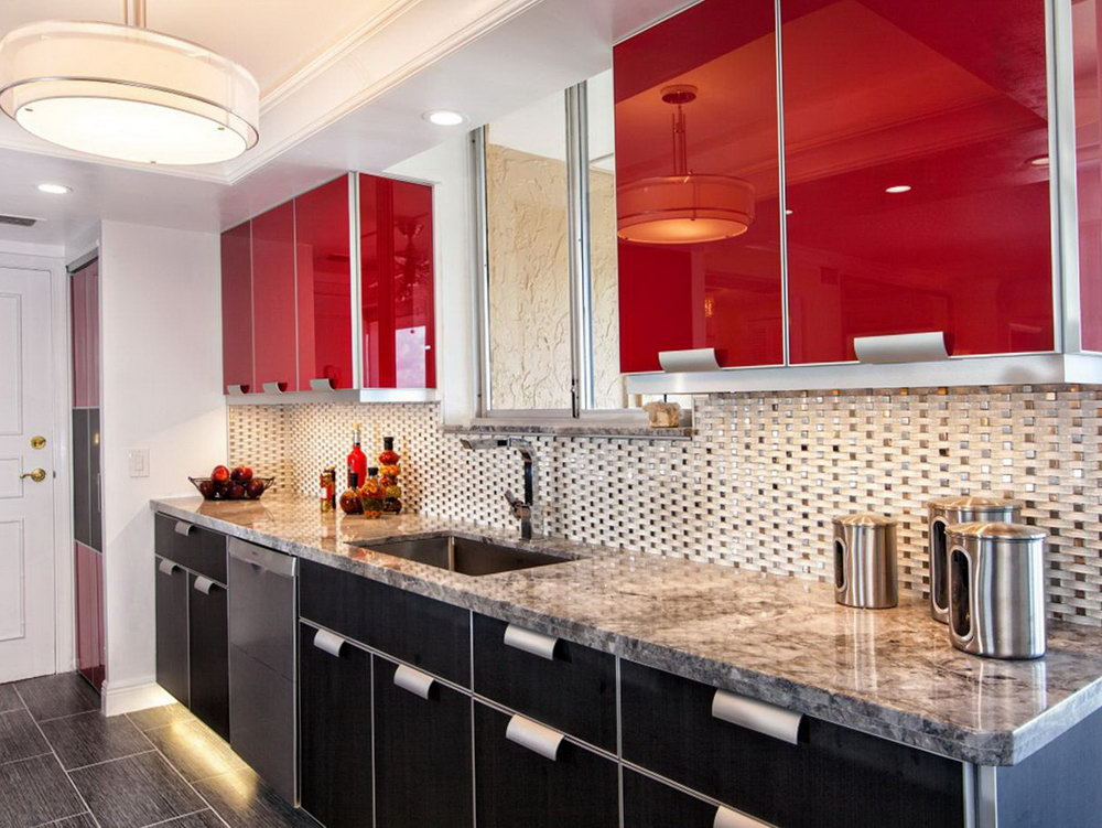 Red Kitchen With Black Cabinets