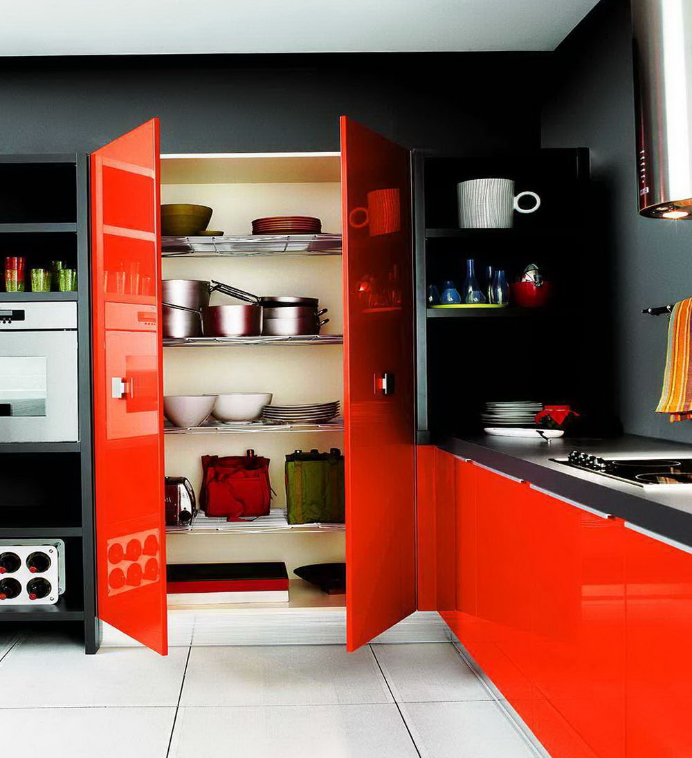 Red Orange Kitchen Cabinets