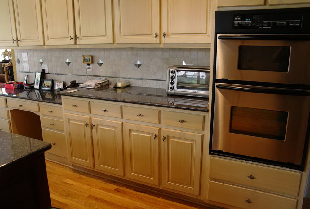 Refinished White Kitchen Cabinets