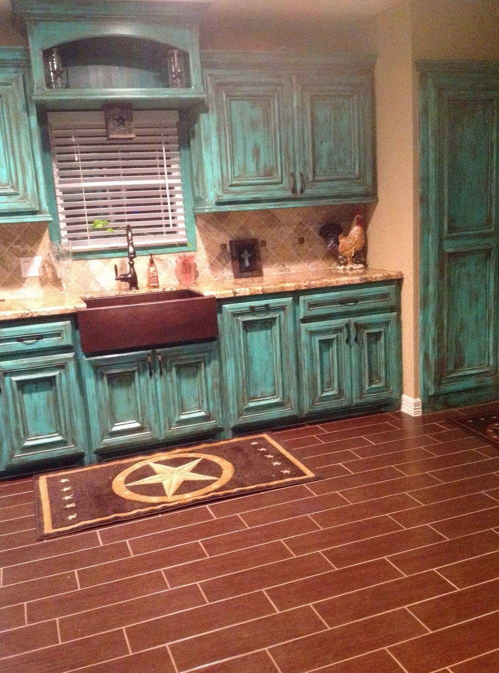 Rustic Teal Kitchen Cabinets