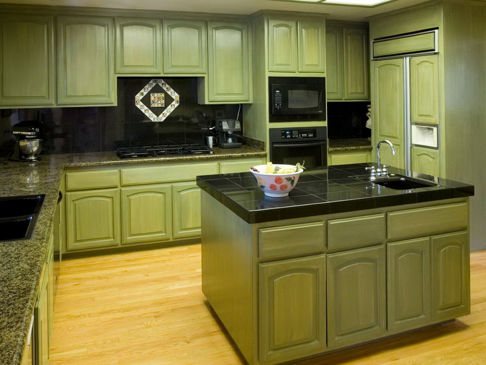 Sage Green Kitchen Cabinets With Black Appliances