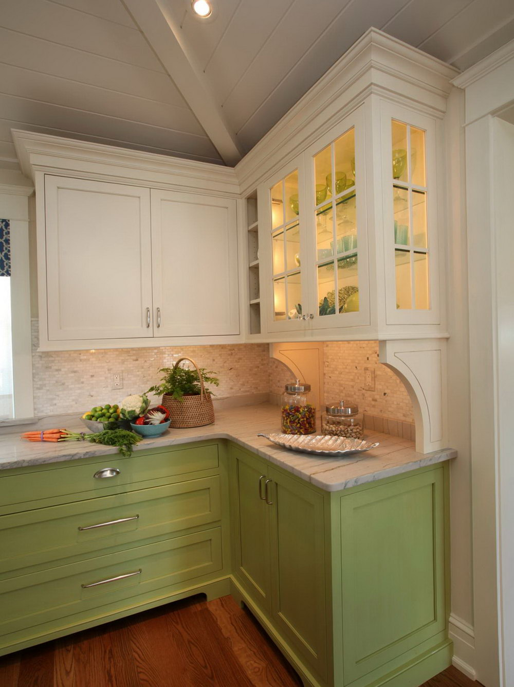 Sage Green Kitchen With White Cabinets