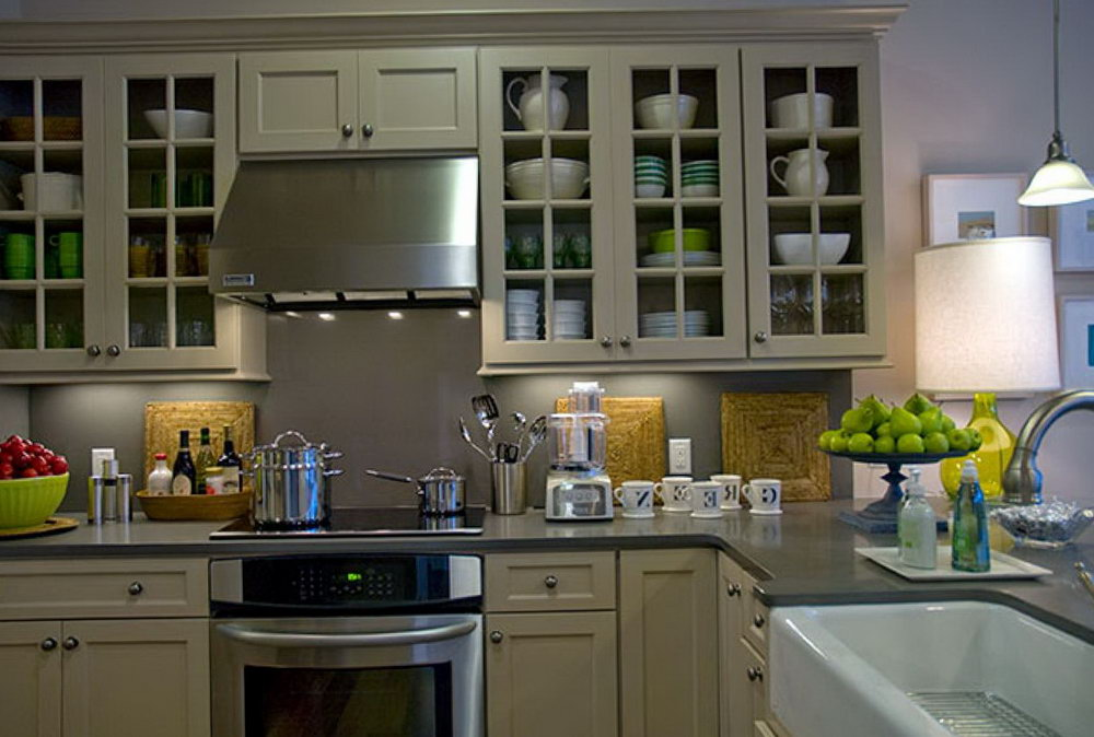 Taupe Kitchen Cabinets With Black Countertops