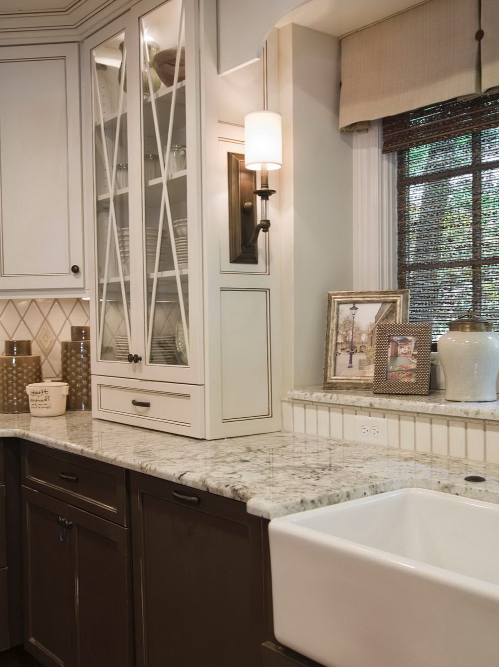 Taupe Kitchen Cabinets With White Appliances