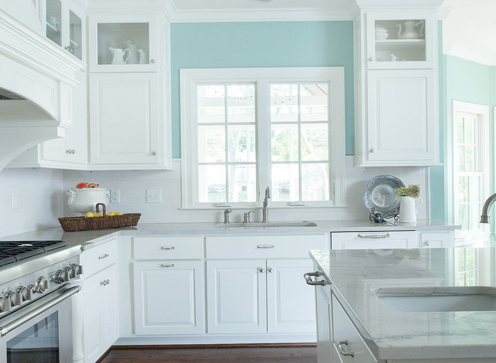 Teal Kitchen White Cabinets
