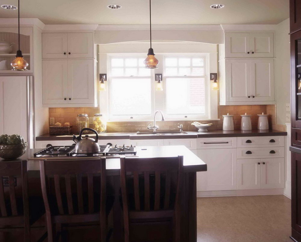 White Craftsman Style Kitchen Cabinets