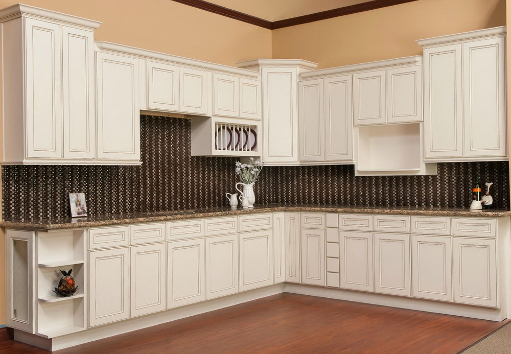 White Glazed Kitchen Cabinets Pictures