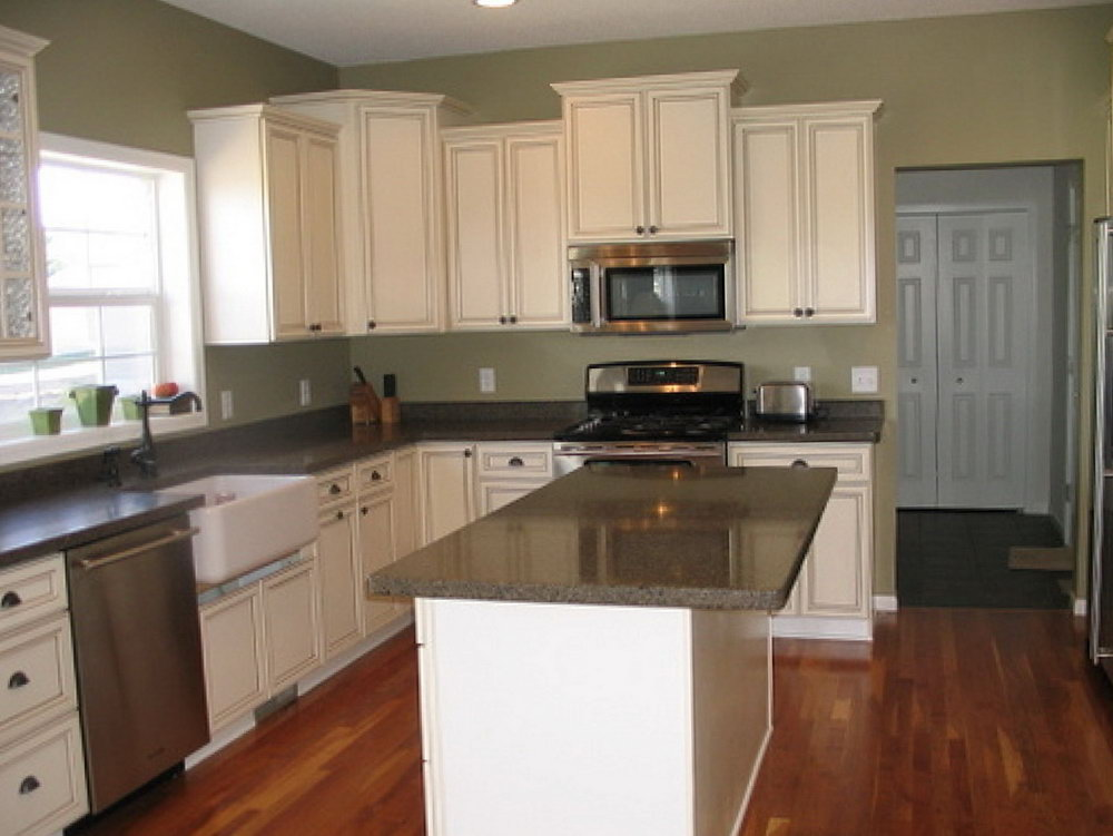 White Kitchen Cabinets Sage Green Walls