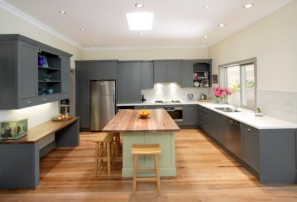 White Kitchen Cabinets With Oak Floor