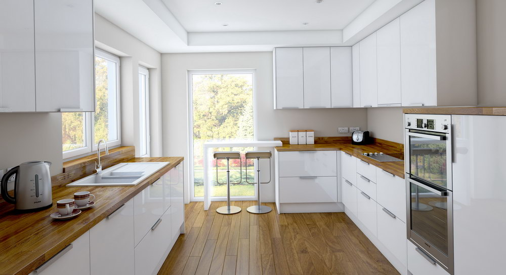 White Stained Oak Kitchen Cabinets