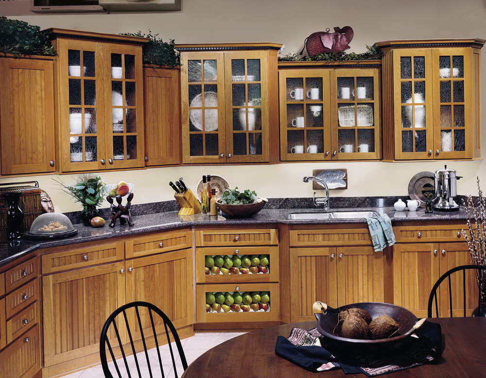Wooden Kitchen Cabinets With Glass Doors