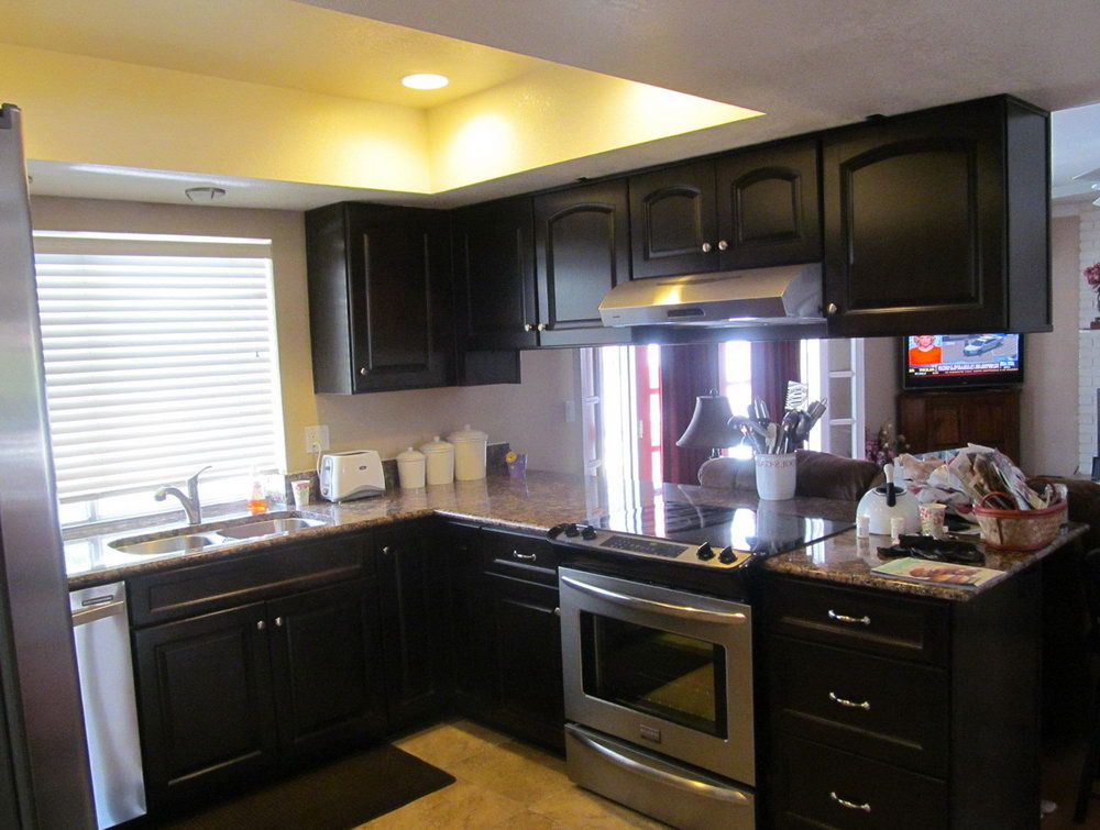 Yellow Kitchen With Black Cabinets