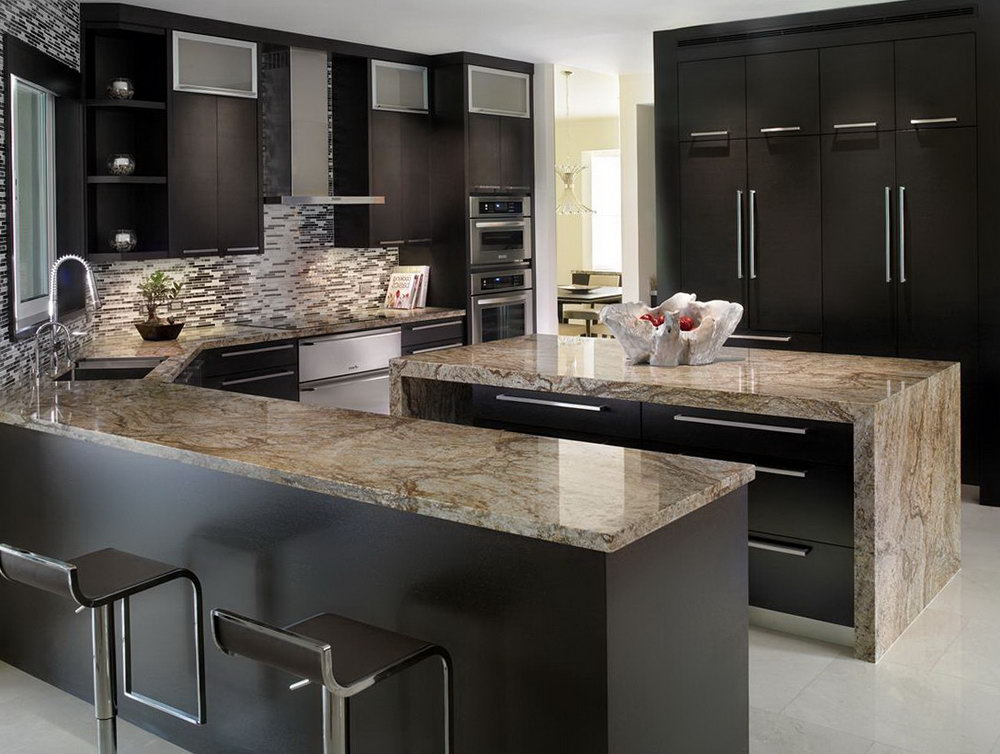 Black Slab Kitchen Cabinets