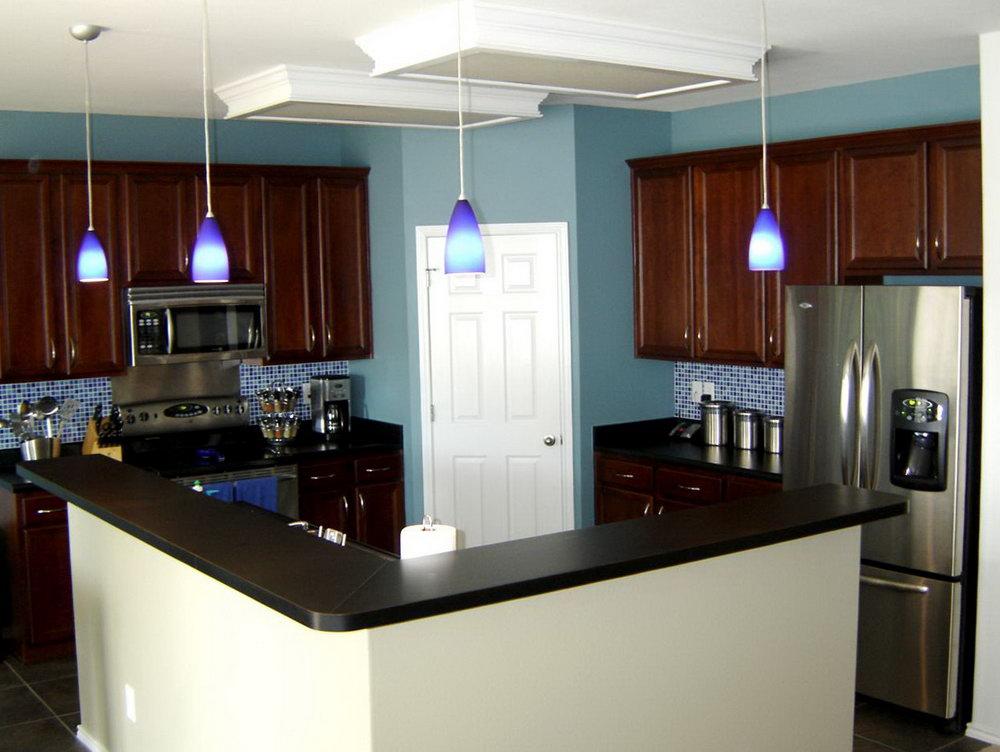 Blue Kitchen Walls Dark Cabinets