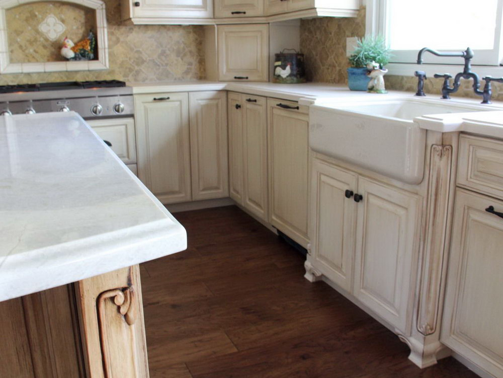 Cherry Cabinet Kitchens With White Farmhouse Sink