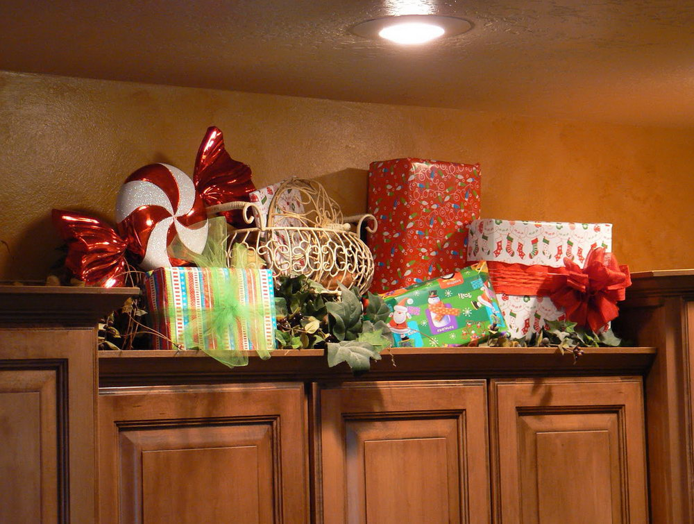 Christmas Decor Above Kitchen Cabinets
